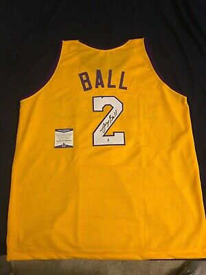 96c8659e646 Los Angeles Lakers Lonzo Ball Signed Yellow Gold Jersey Auto - BAS Beckett