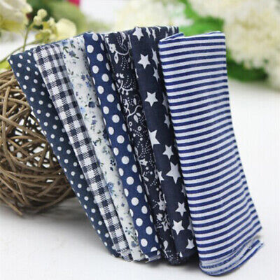7Pcs/Set Cotton Fabric DIY Assorted Blue Squares Pre-Cut Quilt Quarters Bundle