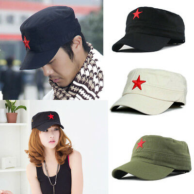 Classic Men Army Plain Vintage Cadet Flat Red Star Military Hat Baseball Cap