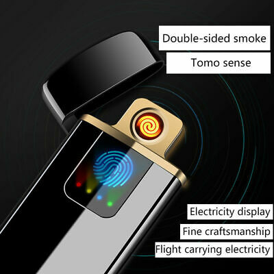 Electric-Lighter USB Rechargeable Flameless Windproof Lighter  Metal Cigarette