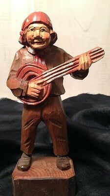 Hand Carving Painted Man Playing Mandolin Art Wood Sculpture Figure Swiss