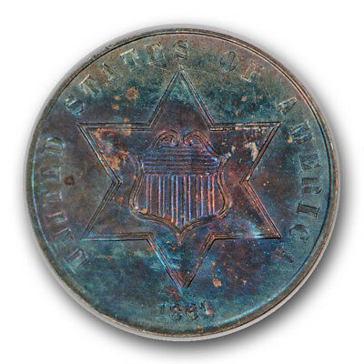1861 3CS Three Cent Silver Piece About Uncirculated Colorful Toned  R811