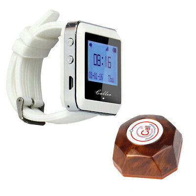 Restaurant 999CH Call Pager 433MHz Waiter Service System:1* Watch+1*Button Pager