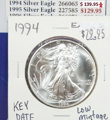 1994 Silver American Eagle BU Coin Key Date 1 oz $1 Dollar Uncirculated Mint *94