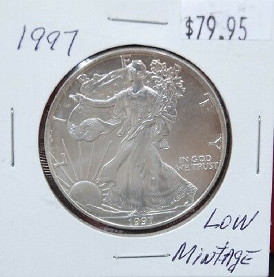 1997 Silver American Eagle BU 1 oz Coin US $1 Dollar Brilliant Uncirculated *97