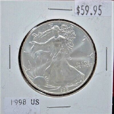 1998 Silver American Eagle BU 1 oz 999 Fine Coin $1 Dollar Mint Uncirculated *98
