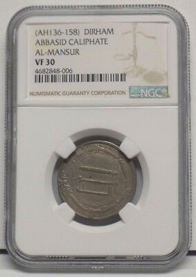 ABBASID CALIPHATE DIRHAM AL-MANSUR VF30 Medieval Era Certified Circulated Coin