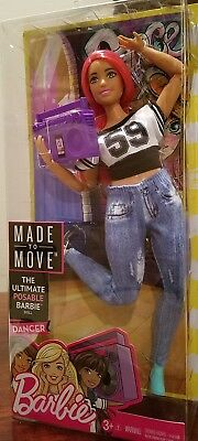 The Ultimate Posable MADE TO MOVE Barbie Doll CURVY DANCER Pink Hair NRFB FJB19!