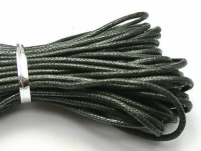 100 Meters Black Waxed Cotton Beading Cord Thread Line 2mm Jewelry Making String