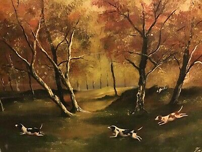 Vintage Oil On Canvas Painting Of Many Terrier Hunting Dogs On The Chase Vgc