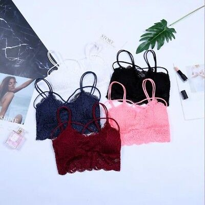 Woman Summer Strappy Sexy Bustier Spaghetti Bra Lingerie Strap Padded Crop Top