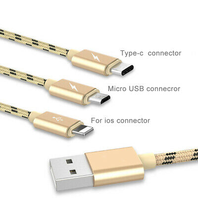 3 in 1 Braided Micro USB Type-C Fast Charging Cable Charger for Android iOS Hot