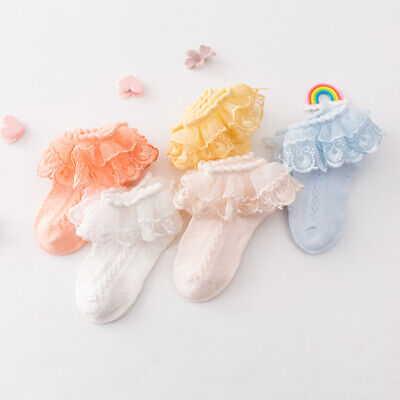Baby Girls Frilly Bow Lace Tutu Short Socks Infant Newborn Toddler Ankle Socks