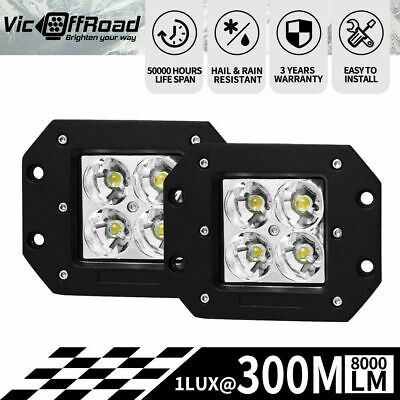 2 x 4inch Flush Mount CREE LED Work Driving Light Bar Spot Beam Reverse 4WD