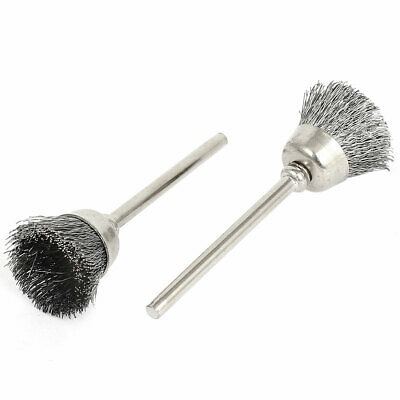 3mm Shank Steel Wire Cup Shaped Polishing Brushes Rotary Tool 2pcs