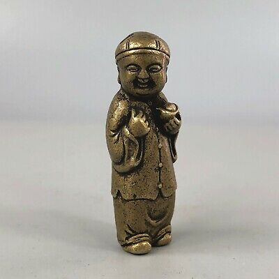 Chinese Antique Collectible Old Brass Handwork Fortune Child Hold Ing0t Statue