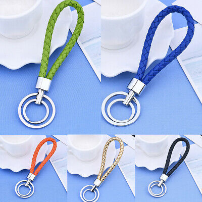 Multi-Color Two Circle Leather Weave Rope Key Ring Key Chain Hanging Decor Gift