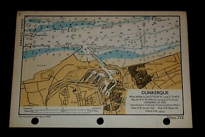 DUNKERQUE, France D-Day Planning - Vintage WW2  Map 1943