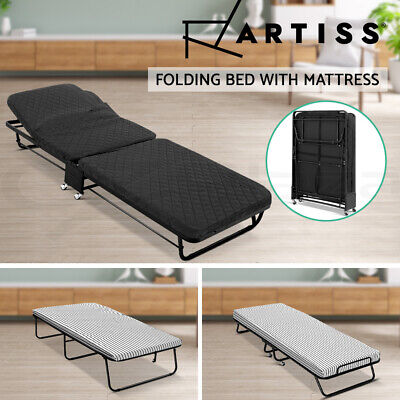 Artiss Folding Bed with Mattress Single Foldable Camping Mat Portable Bedding