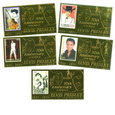 2005 Gold Elvis Stamps - Set of 5