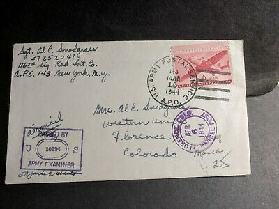 APO 143 RINGWOOD, ENGLAND 1944 Censored WWII Army Cover 116th Sig Rad Int Co