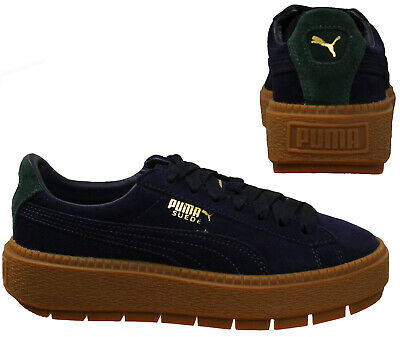 pretty nice b13c1 6f97a PUMA PLATFORM TRACE Bold Women Cleated Suede Low Top Trainer Blue 367066 01  B99C