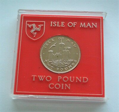 UNC 1987 ISLE OF MAN TOWER OF REFUGE  £2 TWO POUNDS COIN IN CASE - IoM MANX