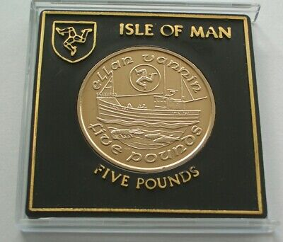 UNC 1988 ISLE OF MAN FISHING BOAT £5 FIVE POUNDS COIN IN CASE - IoM MANX