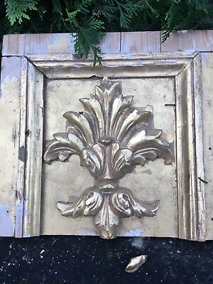 Antique Carved Victorian Fleur De Lis Eastlake Style Walnut Pediment Corbel