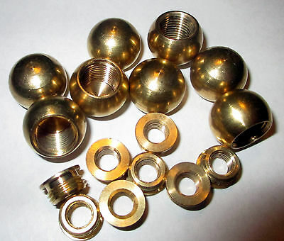 "(Lot of 8) 5/8"" Diameter Brass Ball Finials Unfinished  w/Shoulder Reducers"