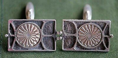 A Vintage Pair Of German Modernist Art Deco 835 Silver Mens Cufflinks