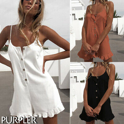 Womens Ladies Romper Shorts Linen Jumpsuit Summer Ruffle Loose Strappy Playsuits