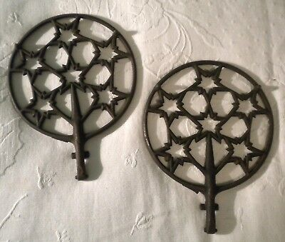 Pair Cast Iron Fragments From Old Stove Stars Architectural Geometric