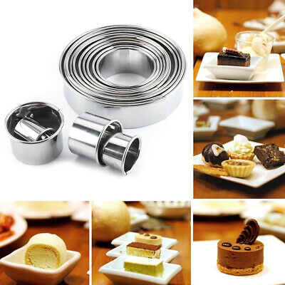 US 14PC Round Cookie Biscuit Cutter Set Pastry Donut Baking DIY Metal Ring Molds