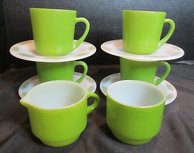 Anchor Hocking Place Setters Collection Spring Wood FireKing 4 Mugs & Saucers +