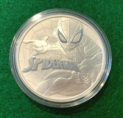 2017 Tuvalu Dollar $1 Spiderman in Hard Capsule -- 1 Oz .9999 Silver Coin -- BU