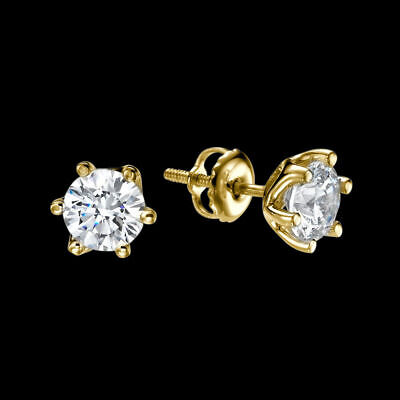 1 1/2 Ct Enhanced Solitaire Diamond Stud Earrings Round H/SI1 14K Yellow Gold