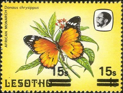 Lesotho 1984 Butterflies 15s on 1s surcharge MISREGISTER/SET OFF ERROR 1v b2391n