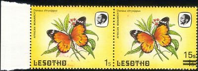 Lesotho 1984 Butterflies 15s on 1s surcharge MISSING SURCHARGE ERROR pr (b2391p)