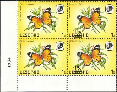 Lesotho 1984 Butterflies 15s on 1s surcharge MISREGISTER ERROR 4 x 1v blk b2391r