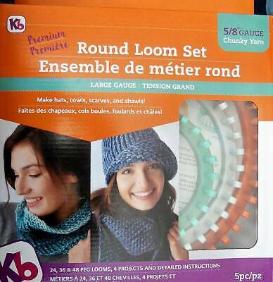 """Authentic Knitting Board  Premium Round Loom Set  5/8"""" Gauge  For Chunky Yarn"""