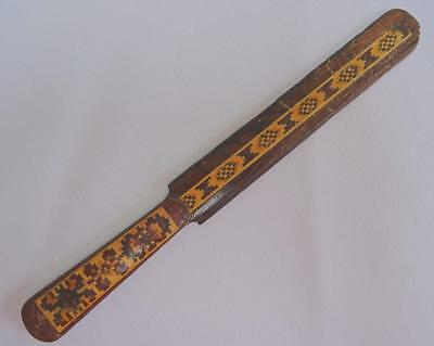 Antique Tunbridge Ware Paper Knife Page Turner Victorian Floral Inlaid c1860