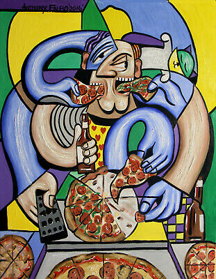 The Pizzaholic Original Painting Italian Pizza Pie Eating Man Food Anthony Falbo