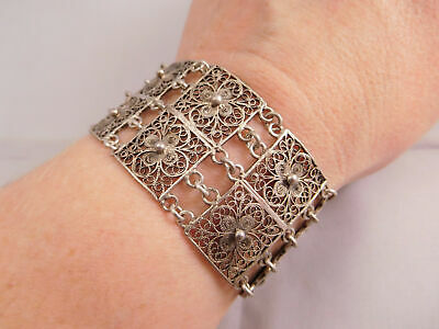 High Quality Art Deco 800 Fine Silver Filigree Scrolling Wire Flower Bracelet