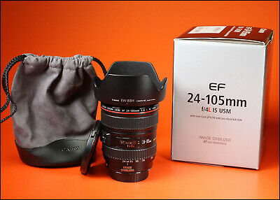 Canon EF 24-105mm F4 L IS USM Lens  Sold With Both Lens Caps, Hood, Bag & Box