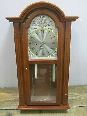 "Tempus Fugit 31-Day Chiming Wall Clock 28"" Tall Wood"