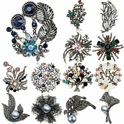 Retro Crystal Pearl Flower Plant Brooch Pin Wedding Bride Bouquet Party Jewelry