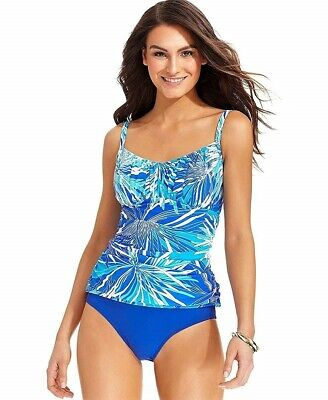 6c646eac781a9 SWIM SOLUTIONS WOMENS Printed Underwire Ruched Tankini Top (10, Blue ...