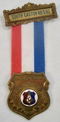 Easton Pennsylvania Medal Ribbon Badge State Convention 1909 PA JOUAM No 590 (O)