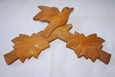 "Vintage Wooden Leaves Birds Cuckoo Clock Parts Top Topper Trim 7 5/8"" #14js"
